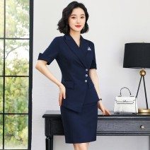 suit Spring 2021 Suit + Half skirt suit + trousers suit + trousers + Half skirt S M L XL 2XL 3XL Short sleeve routine Self cultivation tailored collar double-breasted routine stripe QYA769+QYS769 25-29 years old 91% (inclusive) - 95% (inclusive) polyester fiber Qinhe love Asymmetric pocket