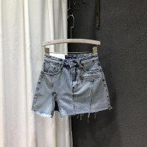 skirt Autumn 2020 S,M,L,XL Black grey, denim blue Short skirt Versatile High waist A-line skirt Solid color Type A 25-29 years old 81% (inclusive) - 90% (inclusive) Denim cotton Pockets, rags, buttons, zippers