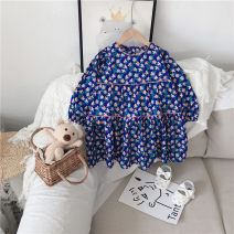 Dress blue female Other / other 90cm,100cm,110cm,120cm,130cm,140cm Other 100% spring and autumn Korean version Long sleeves Broken flowers other Princess Dress Class B 18 months, 2 years old, 3 years old, 4 years old, 5 years old, 6 years old, 7 years old, 8 years old