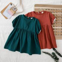 Dress Red, green female Other / other The recommended height is 90cm for size 7, 100cm for size 9, 110cm for size 11, 120cm for size 13 and 130cm for size 15 Other 100% summer Korean version Short sleeve Solid color other A-line skirt Class B