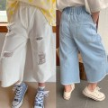 trousers Other / other female The recommended height is 90cm for size 7, 100cm for size 9, 110cm for size 11, 120cm for size 13 and 130cm for size 15 White, denim summer Cropped Trousers Korean version No model Jeans Leather belt middle-waisted other Don't open the crotch Other 100% Class B