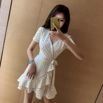 Dress Summer 2021 white S,M,L Short skirt singleton  Short sleeve commute V-neck High waist Dot Ruffle Skirt Others 18-24 years old Type X Other / other Korean version Lotus leaf edge 30% and below brocade cotton