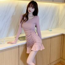 Dress Spring 2021 Pink, black S,M,L Short skirt singleton  Long sleeves commute Crew neck High waist Solid color One pace skirt routine Others Type X Retro Pleating 3849# brocade cotton