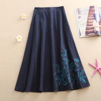 skirt Spring 2021 One size fits all (elastic waist) Dark blue, three butterflies - dark blue Mid length dress commute Natural waist A-line skirt Decor Type A hemp Pocket, embroidery ethnic style