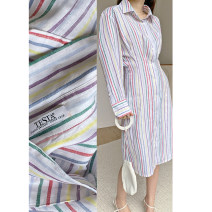 Dress Summer 2020 Picnic limited color bar XS,S,M,L Mid length dress singleton  Long sleeves commute Polo collar High waist stripe Single breasted other routine Others 25-29 years old Type X Britain More than 95% other other