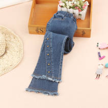 trousers middle-waisted Rubber belt Class B You baobao female 18 months, 2 years old, 3 years old, 4 years old, 5 years old, 6 years old, 7 years old, 8 years old, 9 years old, 10 years old, 11 years old, 12 years old, 13 years old, 14 years old trousers Jeans spring and autumn Don't open the crotch