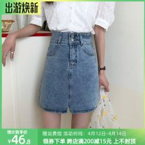skirt Summer 2021 S,M,L,XL blue Short skirt commute High waist A-line skirt Solid color Type A 18-24 years old MF1099 71% (inclusive) - 80% (inclusive) Denim cotton Pocket, patch Korean version 401g / m ^ 2 (inclusive) - 500g / m ^ 2 (inclusive)