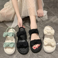 Sandals 35,36,37,38,39,40 Black, green, beige PU Emperor swallow Barefoot Muffin bottom Middle heel (3-5cm) Summer 2021 Trochanter literature Solid color Adhesive shoes Youth (18-40 years old) rubber daily Back space Low Gang Lateral space PU Microfiber skin Flat buckle Shaving