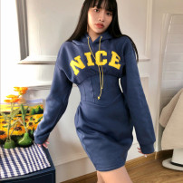 Dress Winter 2020 Navy Blue S,M,L Short skirt singleton  Long sleeves street Hood High waist letter Socket Pencil skirt routine Others 18-24 years old Type H dulzura printing 81% (inclusive) - 90% (inclusive) polyester fiber Europe and America