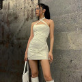 Dress Summer 2021 white S,M,L Short skirt singleton  Sleeveless street One word collar High waist Solid color One pace skirt other Others 18-24 years old Type H dulzura Frenulum D134733H 81% (inclusive) - 90% (inclusive) other polyester fiber Europe and America