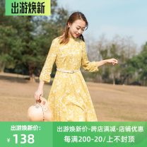 Dress Spring of 2019 XS,S,M,L,XL,2XL Mid length dress singleton  three quarter sleeve commute Lotus leaf collar middle-waisted Decor Single breasted A-line skirt other Others Type X Clothes of a man literature printing