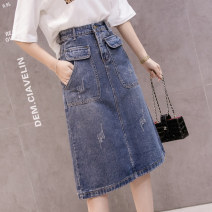 skirt Spring 2021 S,M,L,XL,2XL,3XL blue Mid length dress commute High waist Denim skirt Solid color Type A 18-24 years old H 31% (inclusive) - 50% (inclusive) Denim pocket Korean version