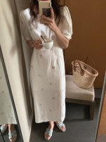 Dress Summer 2021 white Average size Mid length dress singleton  Short sleeve commute Crew neck High waist A-line skirt other Others 18-24 years old Type A Korean version More than 95% cotton