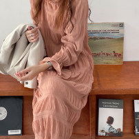 Dress Summer 2021 Off white, pink, black Average size Mid length dress singleton  Long sleeves commute Half high collar High waist Solid color zipper Pleated skirt 18-24 years old Type A Korean version 1363 skirt 81% (inclusive) - 90% (inclusive) Chiffon other