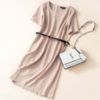 Dress Spring 2021 XS,S,M,L,XL Mid length dress singleton  Short sleeve commute Crew neck High waist Solid color Socket Pencil skirt routine Breast wrapping 30-34 years old Type X Other / other Ol style belt 51% (inclusive) - 70% (inclusive) knitting cotton