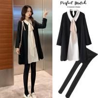 Dress Maternity jacket Long sleeve Korean version Medium and long term spring Lapel Solid color Chiffon KYHaXv Black dress, black dress + [black pantyhose] M,L,XL,XXL
