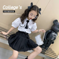 suit Other / other White + Black female summer leisure time Short sleeve + skirt 2 pieces There are models in the real shooting Single breasted nothing Solid color cotton children Learning reward 7, 8, 14, 3, 6, 13, 11, 5, 4, 10, 9, 12 Chinese Mainland