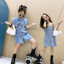 Dress blue female Other / other Other 100% summer leisure time Skirt / vest Solid color cotton Denim skirt 7, 8, 14, 3, 6, 13, 11, 5, 4, 10, 9, 12 Chinese Mainland