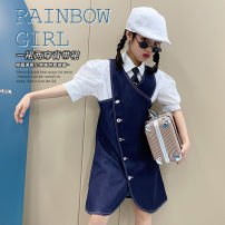 Dress Blue, white shirt female Other / other 120 (recommended height of about 120), 130 (recommended height of about 130), 140 (recommended height of about 140), 150 (recommended height of about 150), 160 (recommended height of about 160), 170 (recommended height of about 170) Cotton 95% polyester 5%