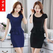 Dress Summer of 2019 Black, blue S,M,L,XL,XXL,XXXL,4XL Middle-skirt Fake two pieces Short sleeve Crew neck middle-waisted Solid color Socket One pace skirt JY605