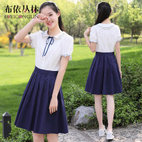 Dress Summer 2021 18539 Navy 19505 Navy S M L XL Mid length dress singleton  Short sleeve Sweet Doll Collar middle-waisted other Socket Pleated skirt bishop sleeve Others Under 17 Type X Bouyei jungle Bow embroidered lace up zipper 51% (inclusive) - 70% (inclusive) other cotton college
