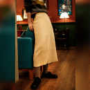 skirt Winter 2020 Average size Black, apricot Mid length dress commute Solid color Q1284 knitting Made by Xiaoer zipper literature