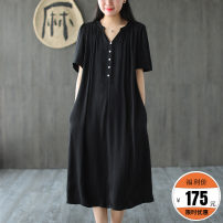 Dress Summer 2020 Black, yellow, light blue, pink M, L Mid length dress singleton  V-neck Made by Xiaoer Q1101 More than 95% other other