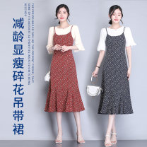 Dress Summer 2021 Red, blue, coffee S,M,L,XL,2XL Mid length dress singleton  Sleeveless commute square neck High waist Socket other camisole Type A Korean version Q193 Chiffon