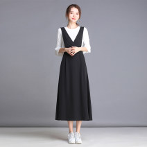 Dress Summer of 2019 Black, suit S,M,L,XL,2XL,3XL Mid length dress Two piece set Sleeveless commute V-neck High waist Solid color Socket A-line skirt other straps Type A Simplicity Pocket, strap