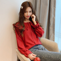 shirt claret S,M,L,XL,2XL Autumn 2021 other 30% and below Long sleeves Sweet Doll Collar Single row multi button pagoda sleeve Solid color 18-24 years old Straight cylinder college Brocade cotton