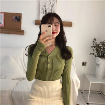 Wool knitwear Spring 2021 Average size Long sleeves singleton  Socket other 51% (inclusive) - 70% (inclusive) Regular routine commute Self cultivation V-neck routine Solid color Korean version 18-24 years old