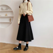 skirt Winter 2020 S,M,L Classic black longuette commute High waist A-line skirt Solid color Type A 18-24 years old 51% (inclusive) - 70% (inclusive) knitting nylon Splicing Korean version