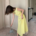 Dress Summer 2021 Black, goose yellow XS,S,M longuette singleton  Sleeveless commute Crew neck High waist Solid color zipper A-line skirt other Others 18-24 years old Type A Korean version Splicing 31% (inclusive) - 50% (inclusive) other cotton