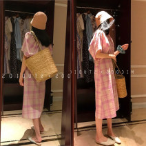 Dress Summer 2021 Pink Purple S, M longuette singleton  Short sleeve commute Crew neck High waist lattice zipper A-line skirt puff sleeve Others Type A Retro Splicing 31% (inclusive) - 50% (inclusive) other other
