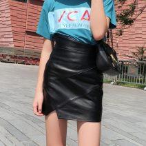 skirt Autumn of 2018 S,M,L,XL black Short skirt gorgeous High waist skirt Solid color Type H More than 95% Sheepskin Sheepskin