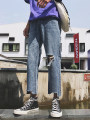 Jeans Youth fashion Others 28 29 30 31 32 33 34 blue routine Regular denim Ninth pants Other leisure summer teenagers Fitting straight tube 2018 zipper