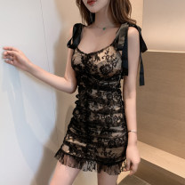 Dress Summer 2020 Black Beige S M L Short skirt 18-24 years old BK / color button 9008 double shoulder bandage hip skirt More than 95% other Other 100% Pure e-commerce (online only)