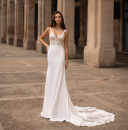 Wedding dress Summer 2020 white S,M,L,XL Simplicity Long tail Hollowing out Outdoor Lawn  Deep collar V satin Three dimensional cutting 25-35 years old Sleeveless shawl soft silk fabric in satin weave