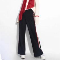 Casual pants Black, dark blue 1 = XS, 2 = s, 3 = m, 4 = L, 5 = XL Spring 2021 trousers Wide leg pants High waist Versatile routine 25-29 years old 71% (inclusive) - 80% (inclusive) Amash nylon acrylic fibres