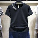 T-shirt black Two, three, four, five Spring 2021 Short sleeve Crew neck Self cultivation routine commute cotton 96% and above Simplicity other Brother amashi