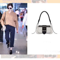 Bag Inclined shoulder bag Super fiber synthetic leather Small square bag brand new European and American fashion Small banquet hard Cover type no Solid color Double root One shoulder portable messenger nothing youth Saddle shape Color contrast Soft handle synthetic leather 1937 Bag with cover