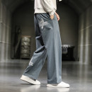 Casual pants Others Youth fashion Grey, black, Navy, greyish green M,L,XL,2XL,3XL,4XL,5XL routine trousers Other leisure easy No bullet K68 Four seasons Large size Chinese style 2021 Medium high waist Sports pants other