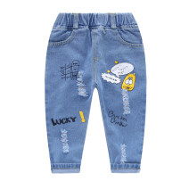 trousers Little Feijie fan male spring and autumn trousers Korean version No model Jeans Leather belt middle-waisted Denim Open crotch Cotton 90% other 10% Class B 2 years old, 3 years old, 4 years old, 5 years old, 6 years old, 7 years old