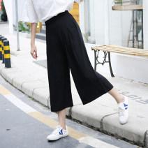 Casual pants black M {100 Jin to 110 Jin}, l {110 Jin to 125 Jin}, XL {125 Jin to 140 Jin}, 2XL {140 Jin to 160 Jin}, 3XL {160 Jin to 180 Jin}, 4XL ({180 Jin to 200 Jin}, 5XL {200 Jin to 230 Jin} Summer 2021 Ninth pants Wide leg pants High waist Versatile Thin money 18-24 years old Cellulose acetate