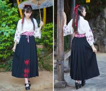 skirt Spring 2016 Average size longuette Retro High waist Pleated skirt Decor Type H 18-24 years old More than 95% other cotton Bow embroidery