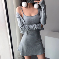 Dress Spring of 2019 S, M Short skirt Two piece set Long sleeves street Crew neck Solid color Socket routine camisole 18-24 years old Other / other cotton