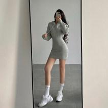 Dress Winter 2020 Black, dark coffee Average size Short skirt singleton  Long sleeves Hood 18-24 years old