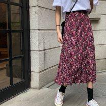 skirt Winter 2020 Average size Yellow, purplish red Mid length dress fresh High waist Pleated skirt Broken flowers Type A 18-24 years old QZ809