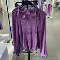 shirt violet XS,S,M,L Spring 2020 other 51% (inclusive) - 70% (inclusive) Long sleeves Regular stand collar Lotus leaf sleeve Solid color URBFHM