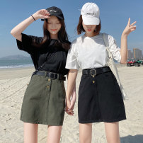 skirt Summer 2021 S,M,L,XL,2XL,3XL,4XL Army green, black Short skirt Sweet High waist Splicing style Solid color Type A 18-24 years old 81% (inclusive) - 90% (inclusive) Denim cowboy cotton pocket college